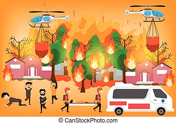 lauffeuer, katastrophe, begriff, natürlich, feuerflammen,...