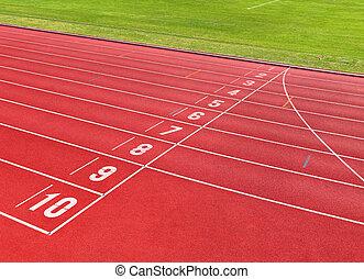 laufschiene, für, athleten