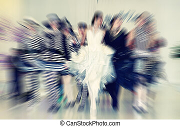laufsteg, mannequins, abstrakt, -, zoom, bl, hintergrund, strahlig
