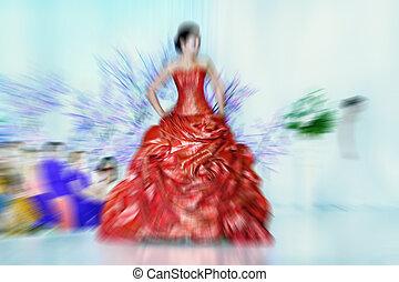 laufsteg, mode, strahlig, instagram, angewandt, look., weinlese, abstrakt, defocusing, -, zoom, effekt, filter, modelle, hintergrund, verwischen
