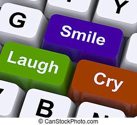 Laugh Cry Smile Keys Represent Different Emotions - Laugh...