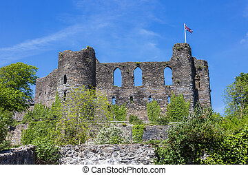 Laugharne Castle in Carmarthenshire South Wales UK