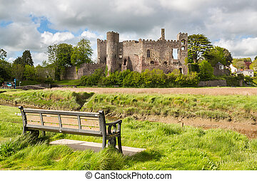 Laugharne Castle Wales - Estuary of the River Tâf with ...
