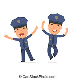 Laughing and Joyful Character Officer celebrates and jumps