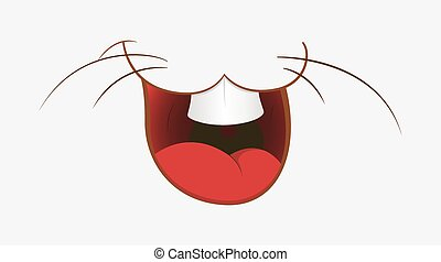 Laughing Animal Mouth - Cartoon Funny Laughing Bunny Mouth...