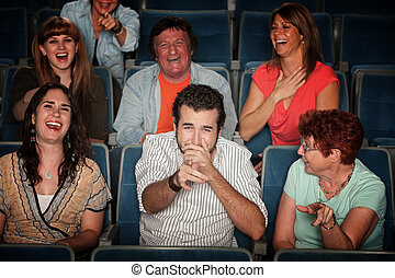 Laughing Audience - Group of seven audience watching movie...