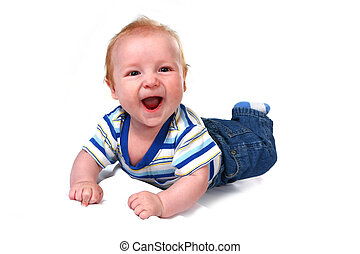 Laughing Baby Infant Boy Lying on His Tummy on White Background