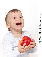 laughing baby with red apple