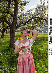 laughing Bavarian young woman