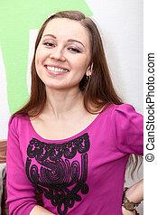 Laughing beautiful woman portrait