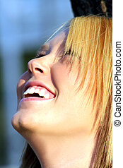 Laughing Blond Looking Up