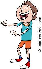 laughing boy character cartoon illustration
