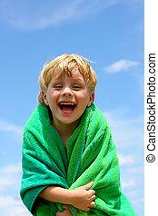 Laughing Boy in Beach Towel