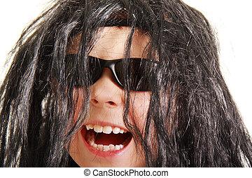 Laughing boy in black wig