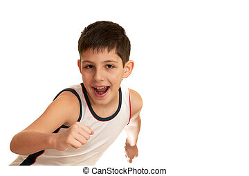 Laughing boy is going in for athletics