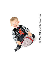 Laughing boy studio shot isolated on a white background