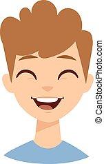 Laughing boy vector illustration.