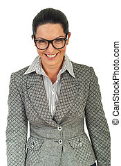 Laughing business woman with eyeglasses