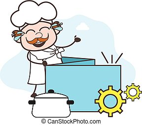 Laughing Cartoon Chef  with Process Banner Vector Illustration