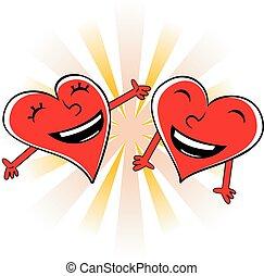 Laughing cartoon hearts