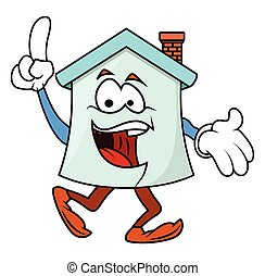 Laughing Cartoon Home Pointing