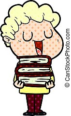 laughing cartoon man with books