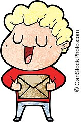 laughing cartoon man with parcel
