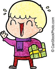 laughing cartoon man with present