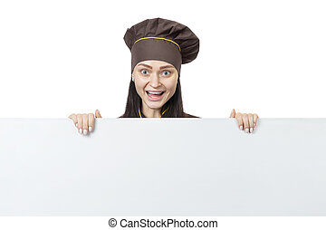 laughing chef with advertising board