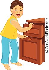 Laughing child opens the dresser