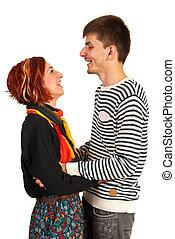 Laughing couple having conversation