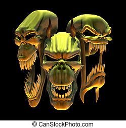 Laughing Demon Skulls - 3D render