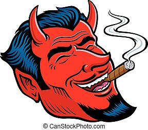 Laughing Devil Face Smoking Cigar - Cartoon illustration of...