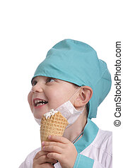 Laughing doctor with ice cream