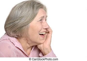 Laughing elderly woman isolated on white background