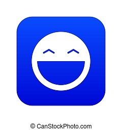 Laughing emoticon digital blue