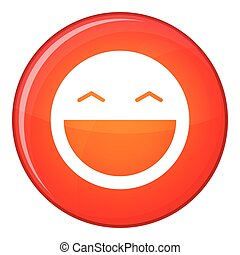 Laughing emoticon, flat style