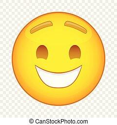 Laughing emoticon icon, cartoon style