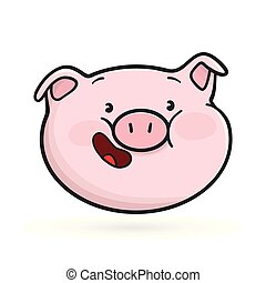 Laughing emoticon icon. Emoji pig