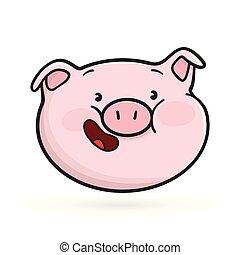 Laughing emoticon icon. Emoji pig