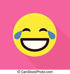 Laughing emoticon icon, flat style