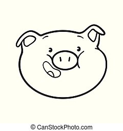 Emoji pig for coloring book.