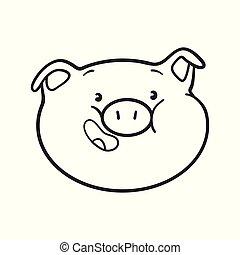 Emoji pig for coloring book.