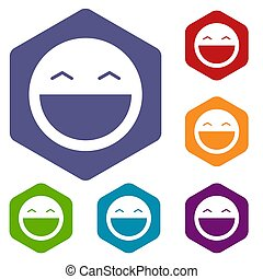 Laughing emoticon icons set