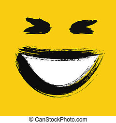 Laughing emoticon painted