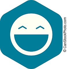 Laughing emoticon with open mouth icon