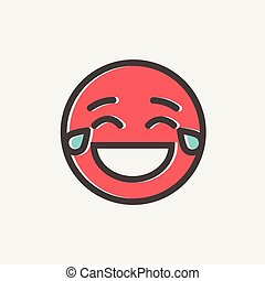 Laughing emoticon with tears of joy thin line icon