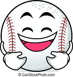 Laughing face baseball cartoon character
