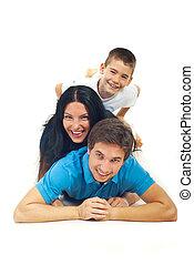 Laughing family having fun