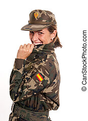 Laughing female soldier